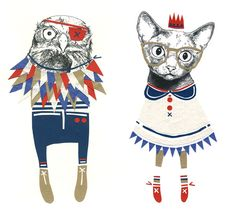 The owl and the pussycat...this time slightly different! Love Catherine Campbells work!