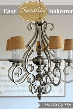 Chandelier Makeover - Satin Nickle spray paint, white spray paint and burlap shades (Hobby Lobby).  A whole new look.