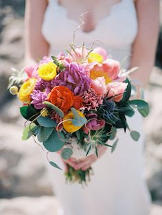 Colorful bridal bouquet with pink peony | Sarah Rose Burns Photography | see more on: http://burnettsboards.com/2014/07/mountaintop-elopement/