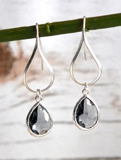 Charcoal Drop Earring in Silver. Charcoal Grey Beidesmaids Jewelry. Wedding Party Gifts.