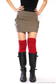 Over the Knee Red Alpine Knit Socks from Artisan Socks www.artisansocks.com