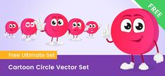 A Cute cartoon circle character made of vector shapes. This circle cartoon is available in 6 poses and the whole set is completely free. Vector Characters, Free Vector Clipart, Vector Shapes, Teaching Materials, Cute Cartoon, Clip Art, Collection, Drawing Drawing, Cute Comics
