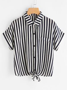Vertical Striped Knot Front Cuffed Shirt - Knot T Shirt - Ideas of Knot T Shirt - Vertical Striped Knot Front Cuffed Shirt Girls Summer Outfits, Girl Outfits, Cute Outfits, Fashion Outfits, Cute Blouses, Cute Shirts, Vertical Striped Shirt, Black Girl Fashion, Summer Shirts