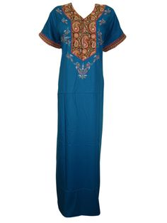 Women Embroidered Cotton Caftan Paisley Design Blue Long Kaftans XL  #Embroidered #caftan #Cotton #Kaftans #Long