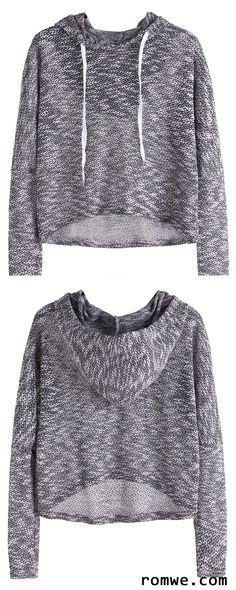 Sport Style - Drop Shoulder High Low Drawstring Hooded Sweatshirt with loose black leggings and comfortable sneakers