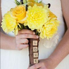 Love the Scrabble Tiles---Names?--30 Ways to Wrap Your Bouquet