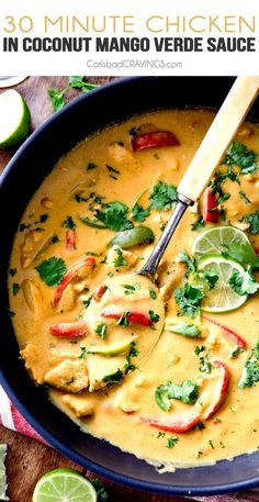 Chicken in Coconut Mango Verde Sauce - my family LOVES this 30 minute meal and I seriously dream about the incredible creamy sauce!