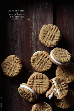 Peanut Butter & Marshmallow Sandwich Cookies via Bakers Royale #cookies