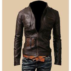 Mens Zip Pocket Slim Fit Dark Brown Leather Jacket
