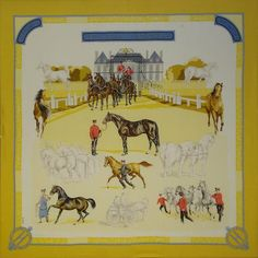 A large 'Les Haras Nationaux' silk scarf, by Hermes,
