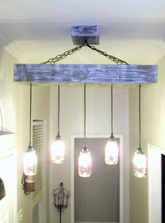 Rectangle 5 Mason Jar Ceiling Light/ Chandelier w/ Wood Canopy – Out of the Woodwork Designs
