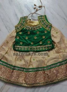 Green Kundan Work Blouse - Indian Dresses Source by tejasreen Blouses Kids Dress Wear, Kids Gown, Little Girl Dresses, Baby Dresses, Doll Dresses, Girls Dresses, Girls Frock Design, Baby Dress Design, Baby Frocks Designs