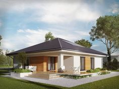 Case in stile di Biuro Projektów MTM Styl - domywstylu. Dream House Exterior, Dream House Plans, One Story Homes, Mediterranean Homes, Cheap Home Decor, Living Room Designs, Floor Plans, Backyard, House Design