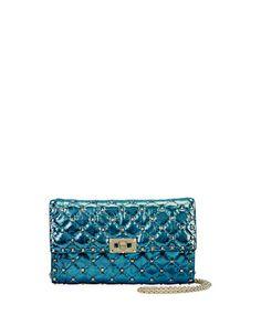 VALENTINO Rockstud Spike Medium Quilted Shoulder Bag, Blue. #valentino #bags #shoulder bags #leather #metallic #