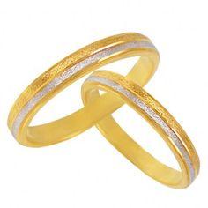 Δίχρωμη ματ χρυσή βέρα γάμου