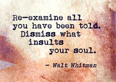"""""""Re-examine all you have been told."""" Walt Whitman"""