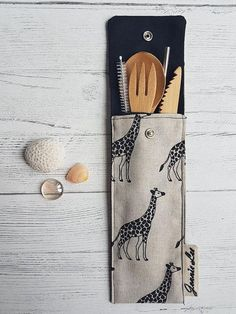 Zero Waste Cutlery Pouch - Giraffe Print This pouch can be easily slipped into y., Waste Cutlery Pouch - Giraffe Print This pouch can be easily slipped into your bag for those times when you are on the go and want to be in a pos. Zero Waste, Furoshiki, Ideias Diy, Creation Couture, Giraffe Print, Sustainable Living, Etsy, Eco Friendly, Sewing Projects
