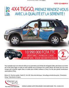 newsletter du concessionnaire Espace Auto pour promouvoir le 4x4 Tiggo de Chery, décembre 2012