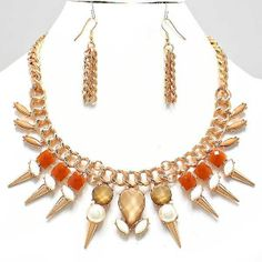 Gold & Brown Statement Necklace Set