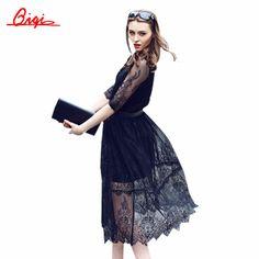 Sale white / black lace stitching Hollow out summer dress 2015 fashion plus size vestidos elegant evening party Casual Dresses