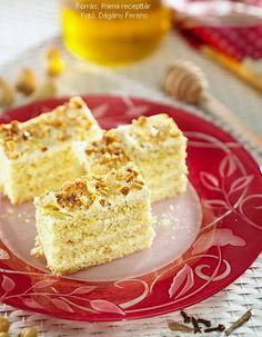 Hozzávalók a tésztához: 6 tojás, 24 dkg kristálycukor, 2 csomag vaníliás cukor, 12 dkg vaj vagy sütőmargarin, 1 csomag sütőpor, fél kiskanál mézes sütemény fűszerkeverék, 24 dkg finomliszt a tepsi kikenéséhez: 2 dkg vaj vagy sütőmargarin, finomliszt a krémhez: 2 ... Krispie Treats, Rice Krispies, Cornbread, Vanilla Cake, Cooking, Ethnic Recipes, Desserts, Food, Sweet Recipes