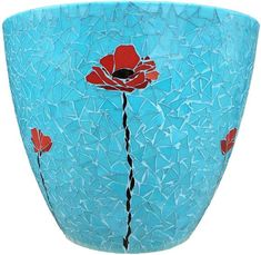 Pathway Mosaic Poppy Vase by mosaic artist Dyanne Williams