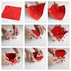 Fabric storage organizer basket - Origami bin organizer  Great idea for taking a project on Retreat.