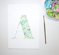Hand painted watercolor print of the letter A.  This is a print of a watercolour letter A that was hand painted by me. Printed using a professional