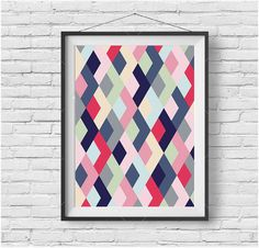 Colorful Art, Geometric Poster, Pattern Print, Abstract Art, Kids Room Art, Colorful Home Decor, Chevron Poster, Printable Art, Digital Art