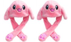 One or Two Bunny Hats with Moving Ears Bunny Hat, Ear Hats, Ears, Cool Designs, Plush, Colours, Costumes, Cute, Pink