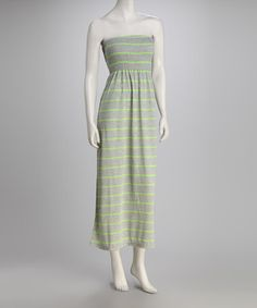 Take a look at this Lime Stripe Strapless Maxi Dress by Feathers on #zulily today!