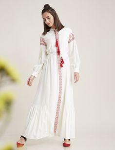 Etnik Desen Elbise Beyaz B7 23092   Kayra Online