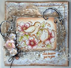 Vintage Blossom birds,  Stampavie, card, Distress Ink