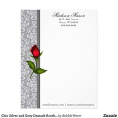 Chic Silver and Grey Damask Rosebud Letterhead