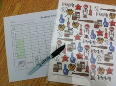 Baseball Math- Find, Tally and Graph- use a Vis-a-Vis pen to mark off which items have been counted in the data collecting. Homeschool Kindergarten, Preschool Math, Math Classroom, Teaching Math, Teaching Resources, Teaching Ideas, Baseball Activities, Fun Math Activities, Teacher Bags