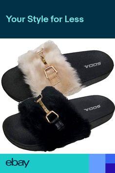 49bb41c755a1 Fur Slides Rihanna Slides Style Faux Fur Flip Flop Slippers Flat Sandals  Slides