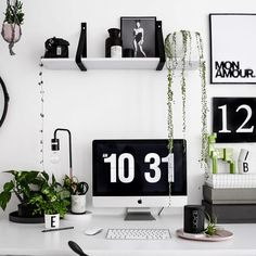 Modern Home Office Decor Ideas With Small Plants - JustHomeIdeas