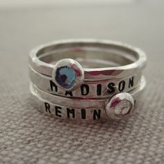 Holiday Gift  Name Band & Birthstone Set of 2 door HipMomJewelry, $48.00