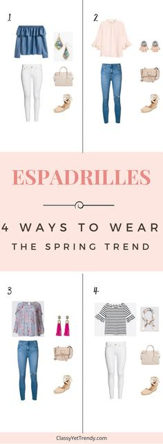 4 Ways To Wear Espadrilles for Spring - See 4 outfit ideas with shopping sources for the Spring, with pieces such as a off the shoulder ruffle chambray top, blush ruffle sleeve top, striped top, white jeans, blue skinny jeans, handbag, crossbody, tassel earrings, bandana scarf and Kendra Scott earrings.