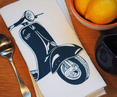 Set of Four Teal Vespa Table Napkins  $24  Click Here: https://www.etsy.com/listing/195825922/teal-vespa-table-napkins-hand-screen?utm_source=Pinterest&utm_medium=PageTools&utm_campaign=Share