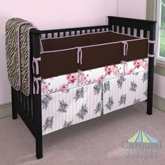 Crib bedding in Pink and Brown Zebra Minky, Amethyst Heather, Pink Cherry Blossom, Chocolate Brown Organic, Pink and Gray Floral Stripe. Created using the Nursery Designer® by Carousel Designs where you mix and match from hundreds of fabrics to create your own unique baby bedding. #carouseldesigns