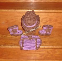 Newborn Baby Crochet Photo Prop Cowboy Cowgirl by HandcraftedLoot