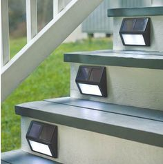 These solar step lights from Plow & Hearth (plowhearth.com) are an easy way to add lighting to deck and patio stairs