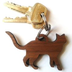 Wooden Cat Keychain Laser cut walnut by NinaRaizel on Etsy, $6.50