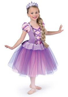 Glitter velvet dress with attached tulle and organza tutu over leotard. Satin front inset and sleeves with sequin trim. Girls Dance Costumes, Cute Costumes, Dance Outfits, Kids Outfits, Princess Frocks, Disney Princess Dresses, Rapunzel Costume, Rapunzel Dress, Crochet Baby Halloween