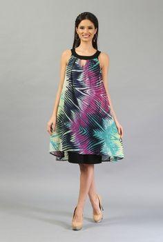 Rochie vaporoasa multicolora R130-M -  Ama Fashion