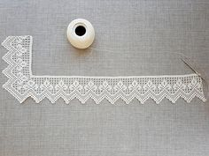 ~ Hand crocheted border, fillet crochet lace trim, linear or turning edge for home decor, wide lace border, cream fine crochet handmade edging Thread Crochet, Love Crochet, Learn To Crochet, Crochet Doilies, Hand Crochet, Crochet Lace, Crochet Hooks, Crochet Edgings, Crochet Borders