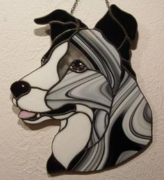 Blue Merle Border Collie - Delphi Stained Glass #DogsInArt Dog Art Puppy Puppies Pup