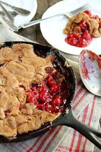 You're only 4 ingredients away from some of the best Skillet Cherry Cobbler ever! This recipe is SO easy!