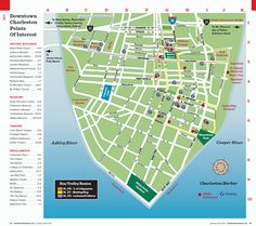 detailed map of the charleston dash trolley routes charleston